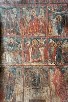 Ancient frescoes, wall paintings depicting the life of Jesus, Panagia and Sotiras Church, Greek Orthodox church, Roustika, Crete, Greece, Europe