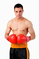 Young boxer with boxing gloves on