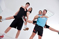 happy young people group in excercise and relax in fitness club