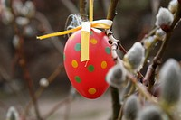 Easter egg hanging outside