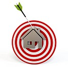 3d red target with house and arrow