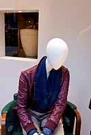 modern manikin in the shop showcase