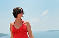 tourist relax and have fun at dubrovnik on adreatic sea at summer vacation