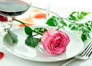 romantic dinner with rose on a plate