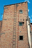 house, brick wall, Manresa, Catalonia, Spain