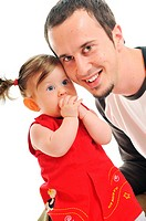 young father man play with beautiful daughter child or baby isolated on white
