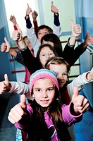 happy childrens group in schoold have fun and learning leassos