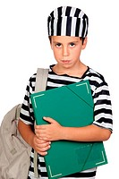 Student boy with prisoner costume