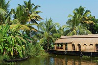 India, Kerala state, Allepey, backwaters, houseboat for tourist