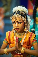India, Kerala state, Guruvayur, danse show at Krishna temple