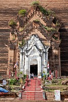 Myanmar, Burma  Entrance to the Mingun Paya, near Mandalay  Begun in 1790, this is the base of a pagoda planned to be 500 feet tall  Construction ende...