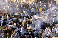 restaurants on the famous Jamaa el Fna square, Marrakech, Atlas, Morocco, North Africa