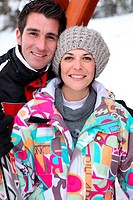 Couple at a ski resort