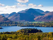 View West over Derwent Water and Causey Pike in the Lake District National Park, Keswick, Cumbria, England, United Kingdom