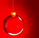 Christmas bauble ball in golden red as holidays background