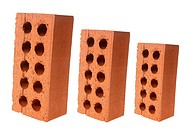 Pieces of Brick on White Background