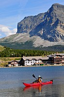 Canoe Swiftcurrent Lake Glacier National Park Montana MT US