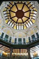 The ornate ceiling of the Tokyo Station Building opened on October 1 2012 after 5 years of restoration Originally constructed in 1914 Japan