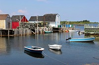 Canada, Nova Scotia, Atlantic, Maritime Provinces, Lunenburg, Blue Rocks, lobster traps, dock