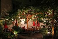 Austria, Styria, Graz, View of Krebsenkeller restaurant at Sackstrasse Street