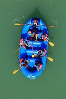 India, Uttarakhand, Rishikesh, People in rafting boat at River Ganges