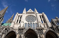 Chartres Cathedral of of Our Lady of Chartres, front view, France, a UNESCO World Heritage SIte
