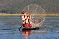 Myanmar, Burma  Young Burmese Woman Looking for a Place to Set her Fishing Net  Inle Lake, Shan State  She is wearing thanaka paste on her cheeks, a B...