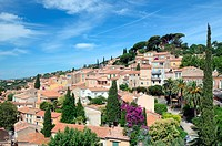 View over Village of Bormes-les-Mimosas Var Provence France