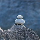 Stack of two pebbles at the beach