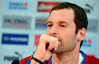 Petr Cech, captain of Czech Republic national soccer team speaks during press conference in Prague, Czech Republic on October 15, 2012 ahead of the Wo...