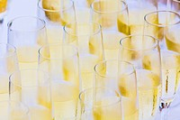 Champagne glasses at an outdoor beach reception