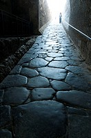 Italy, Campania, Pompeii  Stone roadway entering the city  Roman city destroyed by eruption of Mount Vesuvius in AD 79