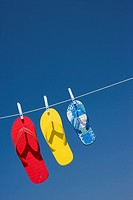 Sandals Hanging on Clothes Line