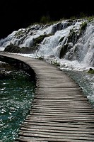 Wooden pathway in Plitvice Lakes national park in Croatia