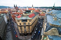 view of the red roofs of old town square Stare Mesto, Prague