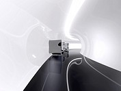 Futuristic architecture space round corridor like sci-fi white indoor