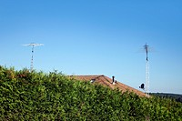 Two TV antennas on roof