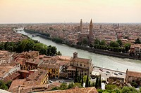 Cityscape of Verona and the Adige River, Verona, Italy