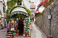 A street and shops in Ravello, Italy