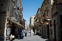Pedestrian area, Corso Umberto, Taormina, Sicily, Italy, Europe