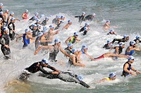 Swimming, triathlon competition, Barcelona, Catalonia, Spain