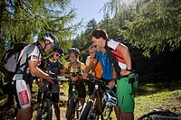 Austria, Europe, Flachau, teenager, biking, riding a bike, bike, bicycle, mountain bike, group, men, women, sport, fitness, fun, fitness, map, card, r...