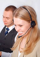 Successful customer service people smiling