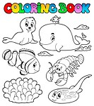 Coloring book various sea animals 3 _ picture illustration.