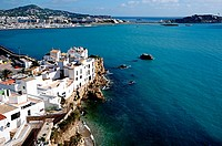 Houses perched on rocks in Sa Peña neighborhood  Ibiza town, Balearic Islands, Spain