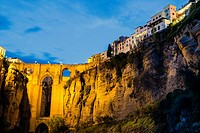 Night view of Puente Nuevo arched bridge in Ronda, Andalusia, Spain