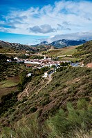 Panoramic view over the white town of Atajate, Andalusia, Spain