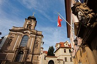 At left Church of St. John of Nepomuk, Kanovnicka Street, very close to Hradcany Square, Prague, Czech Republic, Europe