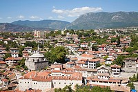 asia, turkey, central anatolia, ancient town of safranbolu, view with koprulu mehmet camii and old government building now city history museum and the...