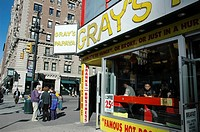 New York City, Gray's Papaya hot dog restaurant, at 2090 Broadway at 72nd Street in the Upper West Side, Manhattan